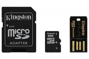 8GB microSDHC Kingston CL4 + adapter + kártyaolv